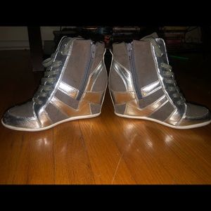 Silver Wedge Boots